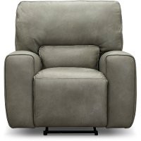 Gray Leather-Match Power Recliner - Madrid