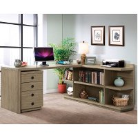 Weathered Brown L-Shaped Desk with Filing Cabinet - Perspectives