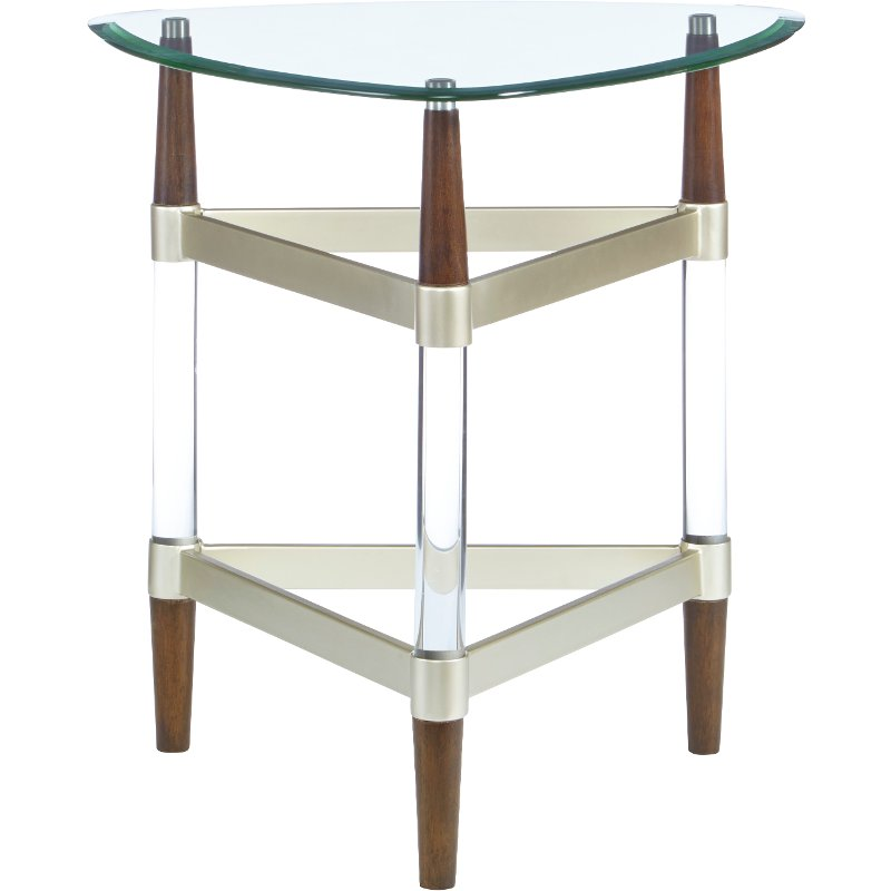 Contemporary Glass Top End Table - Michigan Ave.