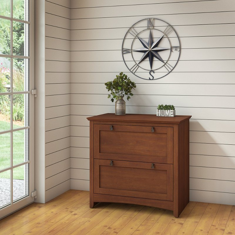 Cherry Brown 2 Drawer Lateral File Cabinet - Buena Vista