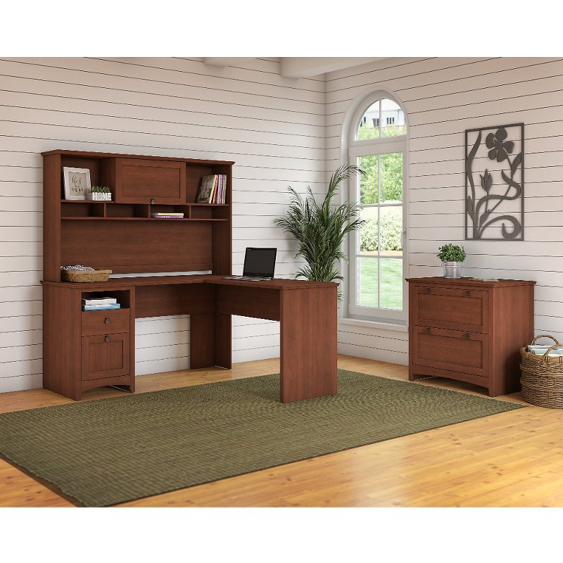 Brown L Shaped Desk with Hutch and Lateral File Cabinet - Buena Vista