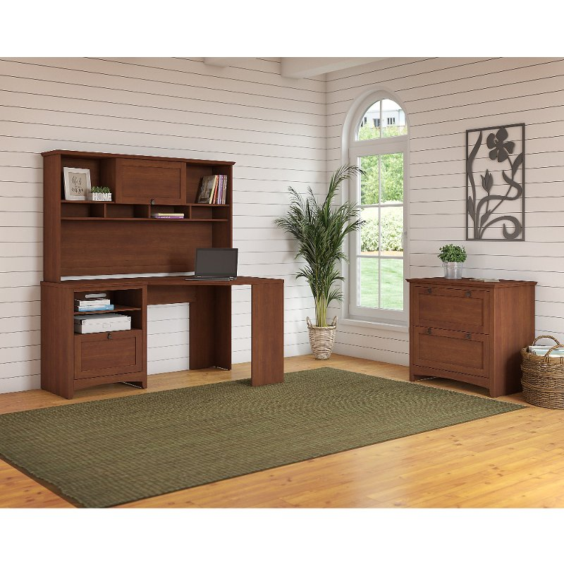Brown Corner Desk with Hutch and Lateral File Cabinet - Buena Vista
