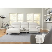Frost White Leather-Match Power Reclining Sofa with Left-arm Facing Chaise - Venice