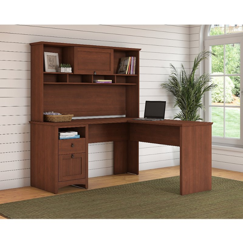 Light Cherry Brown L Shaped Desk With Hutch Buena Vista Rc Willey Furniture
