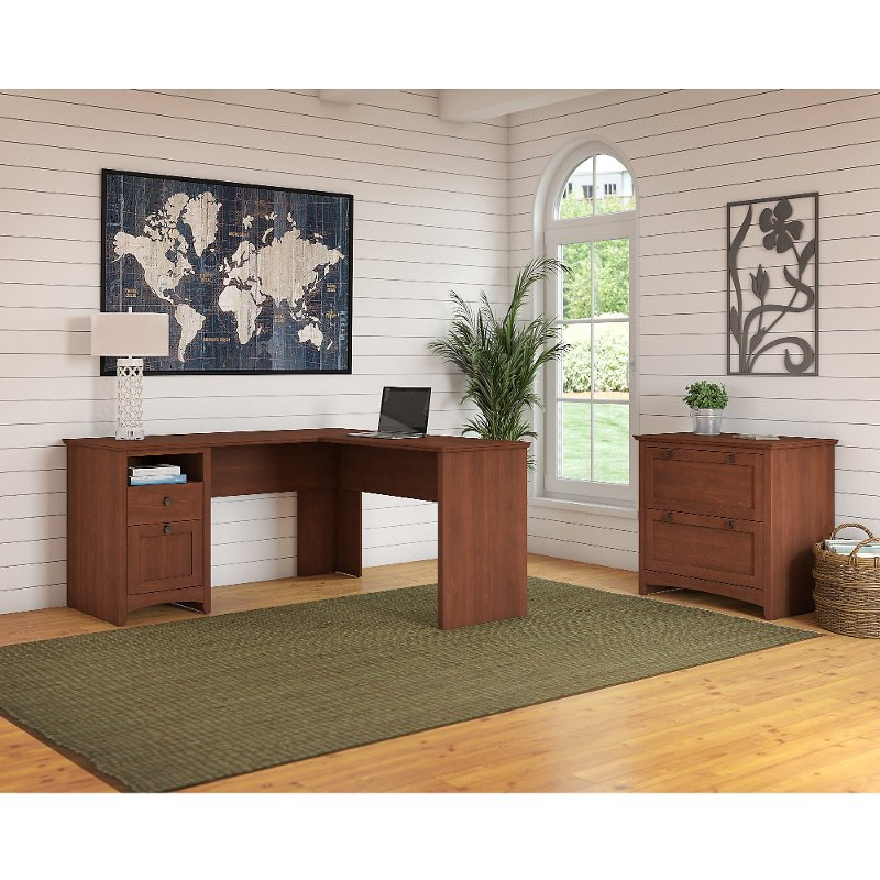 Cherry Brown L Shaped Desk with Lateral File Cabinet - Buena Vista