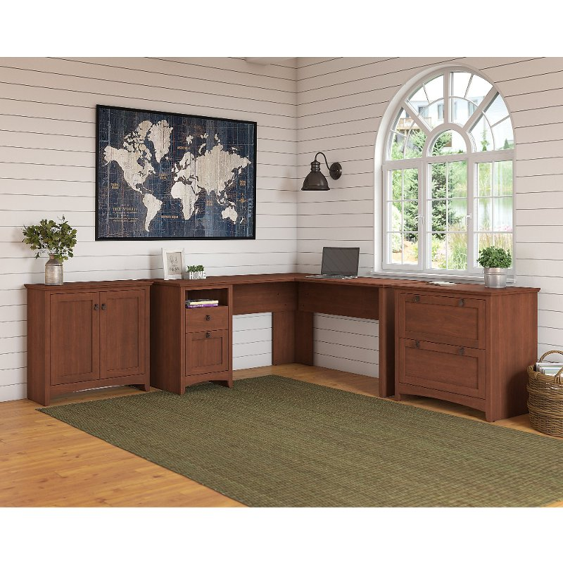Cherry Brown L Shaped Desk with Lateral File Cabinet and Storage.