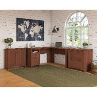 Light Cherry L Shaped Desk with Lateral File Cabinet and Storage Cabinet - Buena Vista