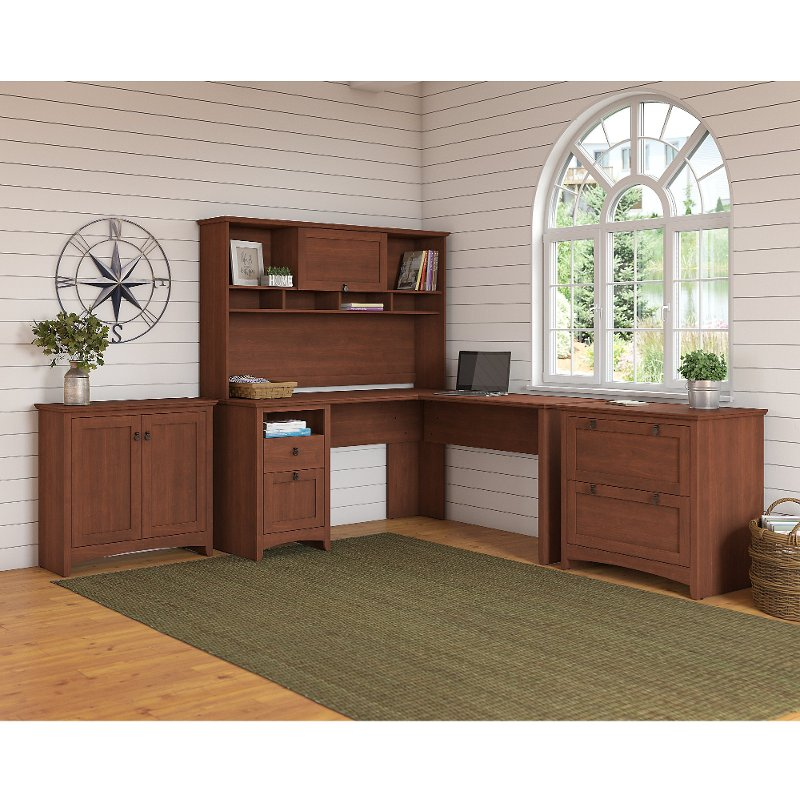 Cherry Brown L Shaped Desk with Hutch, Lateral File and Small.