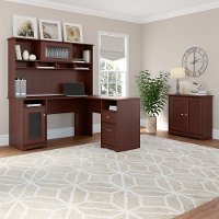 Harvest Cherry L Shaped Desk with Hutch and Small Storage Cabinet with Doors - Cabot