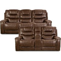 Chocolate Brown Power Living Room Set - Desert