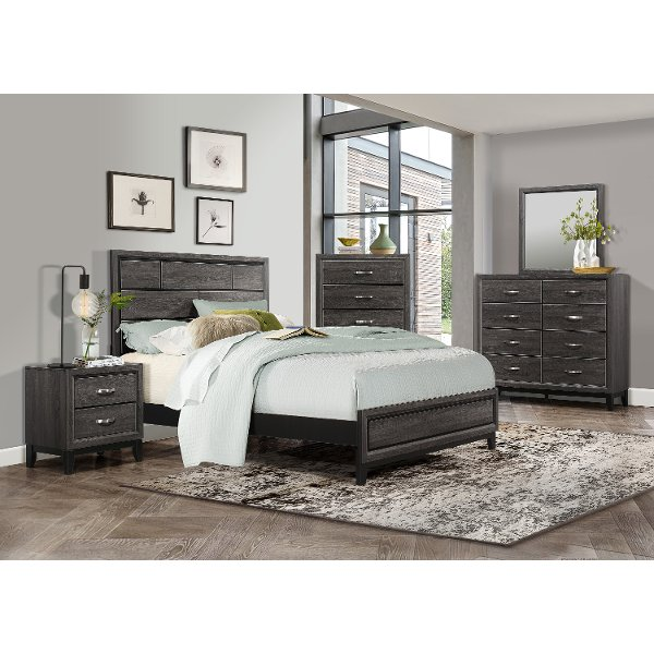Good Clearance Modern Farmhouse Gray 4 Piece King Bedroom Set   Atticus