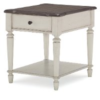 Vintage Brown and White End Table - Brookhaven