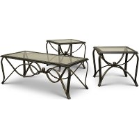 Glass Top Antique 3 Piece Coffee Table Set - Monarch