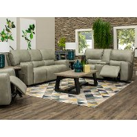 Gray Power Reclining Living Room Set with Console Loveseat - Madrid