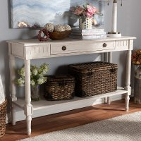 147-8190-RCW Country Cottage Whitewashed 1-Drawer Console Table - Ariella