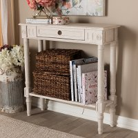 147-8188-RCW Country Cottage Whitewashed 1-Drawer Console Table - Ariella