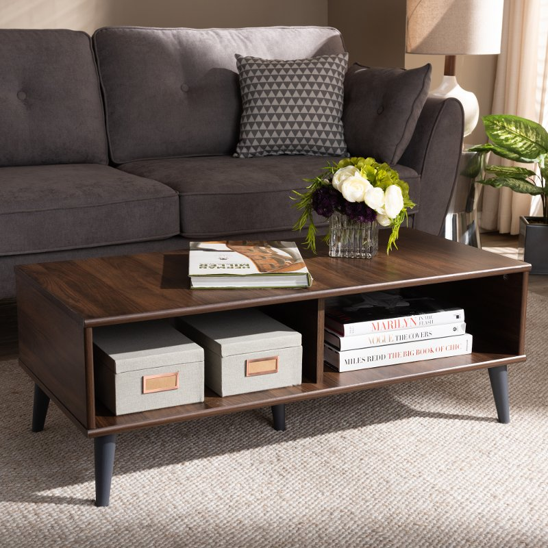 Mid Century Modern Brown And Gray Wood Coffee Table Pierre