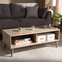 147-8253-RCW Mid Century Modern Oak and Light Grey Wood Coffee Table - Pierre