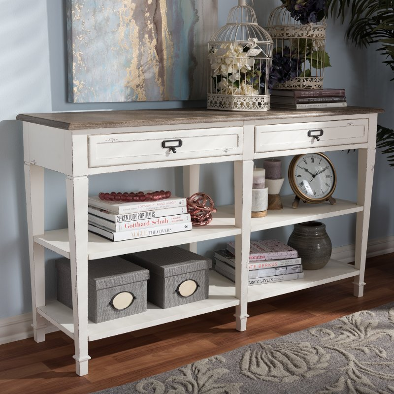 Provincial Style Oak And White Wash Wood Console Table Dauphine