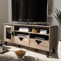 137-7560-RCW Modern and Contemporary Light Brown 55 Inch TV Stand - Cardiff