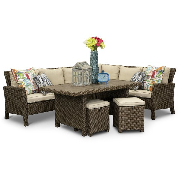 3pc Arcadia Linen Wicker 3 Piece Patio Set