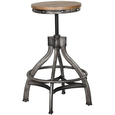 Rustic Brown Adjustable Bar Stool - Chandler