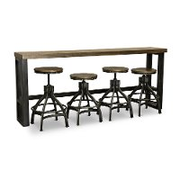 Rustic Brown Sofa Bar Table and 4 Bar Stools - Chandler
