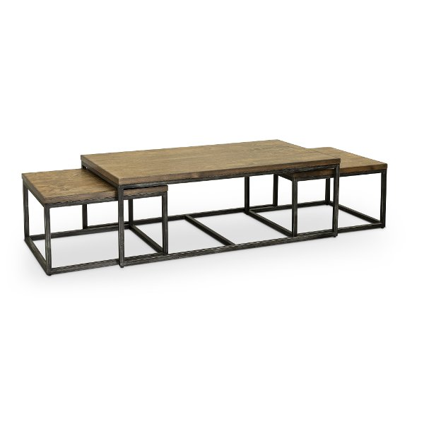 Brown Industrial 3 Piece Nesting Coffee Table   Chandler
