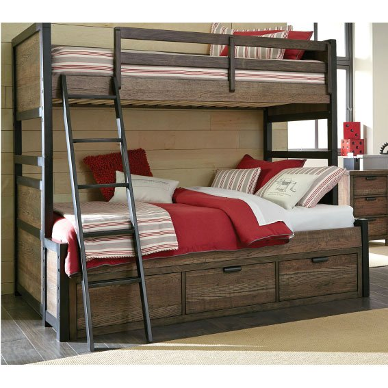 Brown Twin-over-Full Bunk Bed with Storage - Fulton County