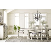 Linen and Elm 5 Piece Dining Set with Slat Back Chairs - Brookhaven