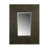 Black Embossed Metal Framed Mirror