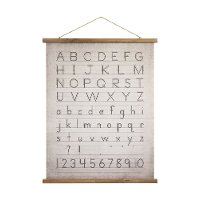 Alphabet and Numbers Canvas and Wood Scroll Wall Decor