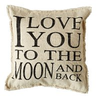 I Love You To The Moon And Back Cream Throw Pillow