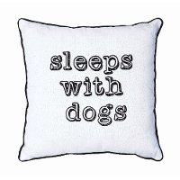 White and Black Sleeps With Dogs Square Throw Pillow
