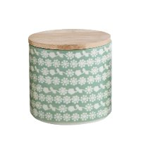 Mint Green Stoneware Canister With Bamboo Lid And Flower Pattern