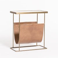 Brass and Marble Magazine Side Table with Tan Leather Pouch