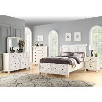 Classic Traditional White 4 Piece Queen Bedroom Set - Stella