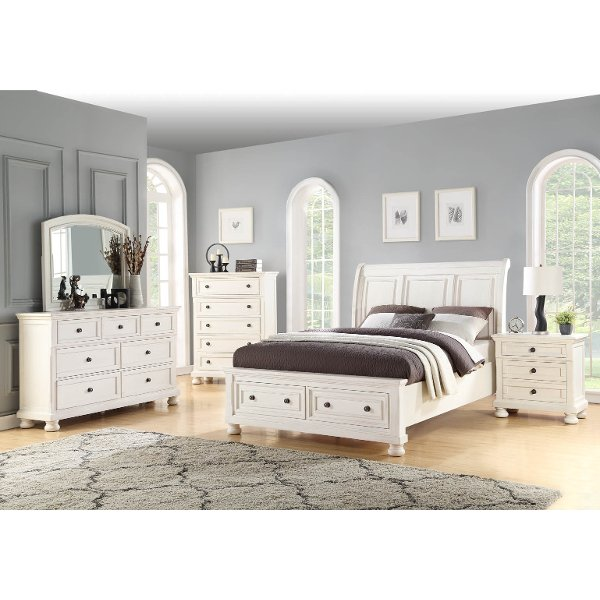 Classic Traditional White 6 Piece Queen Bedroom Set   Stella ...