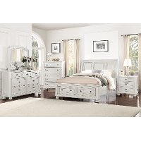 Classic Traditional White 4 Piece King Bedroom Set - Stella