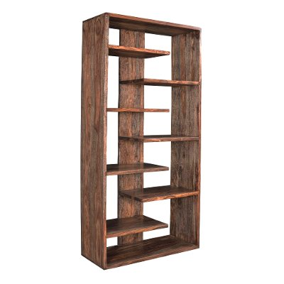 Medium Brown Solid Wood Bookcase - Brownstone