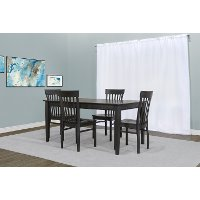 Charcoal 5 Piece Dining Set with Slat Back Chairs - Taylor