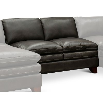Charcoal Leather 3 Piece Sectional Sofa With Raf Chaise