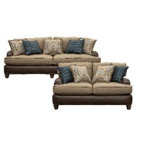 Traditional Two-Tone Brown 2 Piece Living Room Set - Cognac