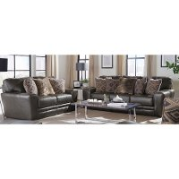 Classic Steel Gray Leather 2 Piece Living Room Set - Denali