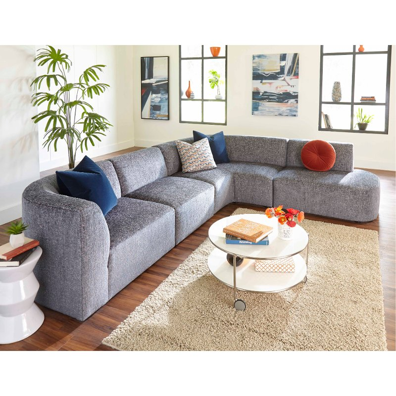 Modern Gray 4 Piece Sectional Sofa With Raf Chaise Nyla