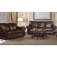 Brown Leather 2 Piece Sofa Bed Living Room Set - Molasses