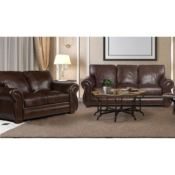 ... Traditional Brown Leather 2 Piece Living Room Set   Molasses