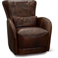 Antique Brown Leather Swivel Chair with Kidney Pillow - Pinkerton