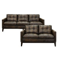 Antique Brown Leather 2 Piece Living Room Set - Montana