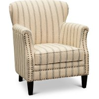 Tan Accent Chair with Brown and Black Stripes - Layla